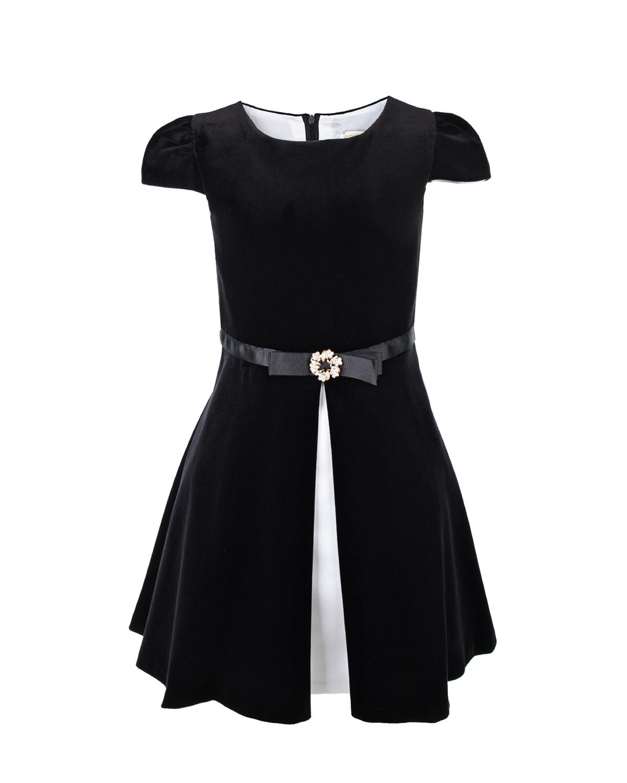 Черное бархатное платье с разрезом спереди David Charles детское фото