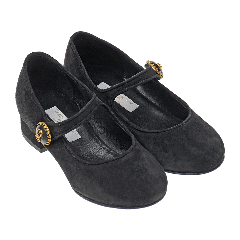 Замшевые туфли с декоративной пуговицей Dolce&Gabbana детские фото