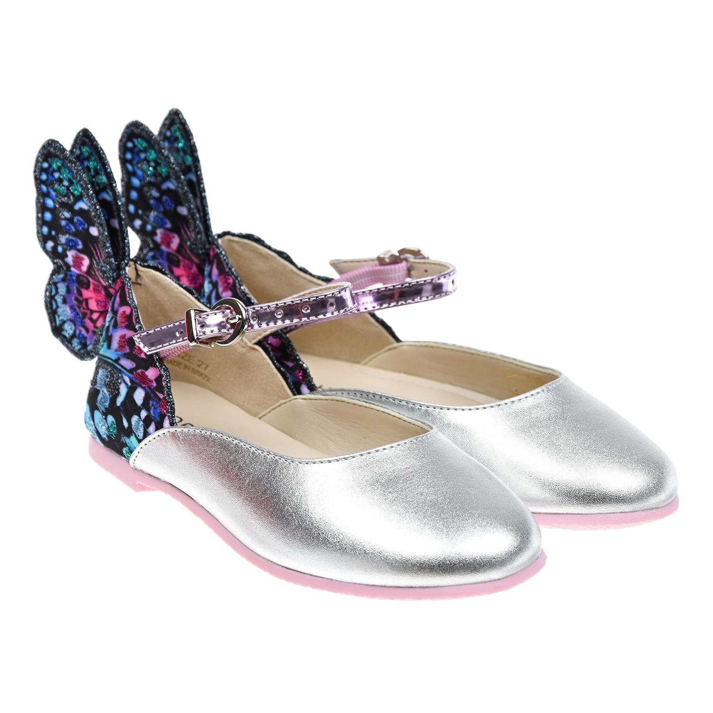 Серебристые туфли с аппликациями Sophia Webster детские фото