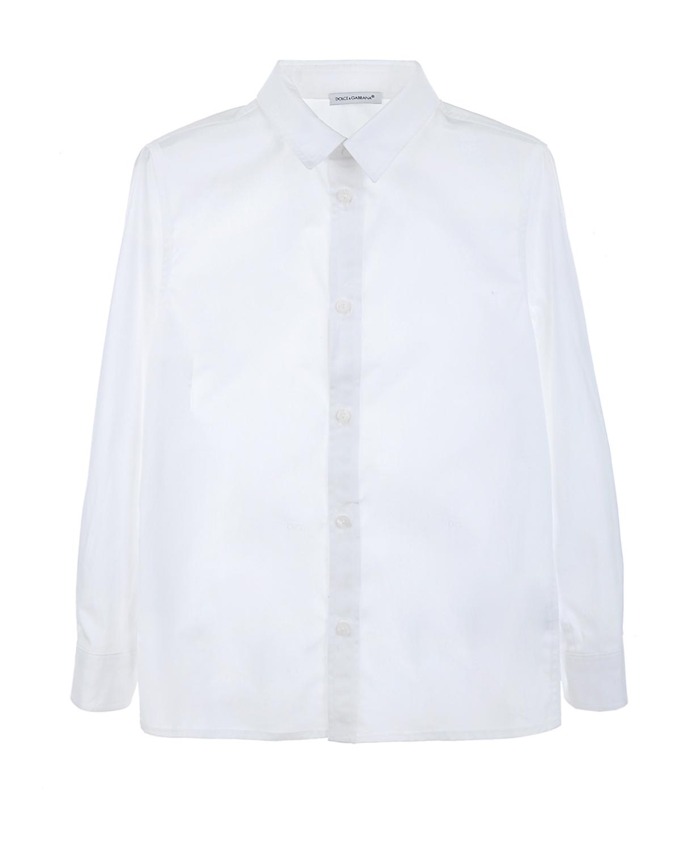 Рубашка с длинными рукавами Dolce&GabbanaРубашки<br>Белая хлопковая рубашка DolceGabbana. Модель классического прямого кроя, с отложным воротником и длинными рукавами с манжетами. Застегивается на пуговицы.