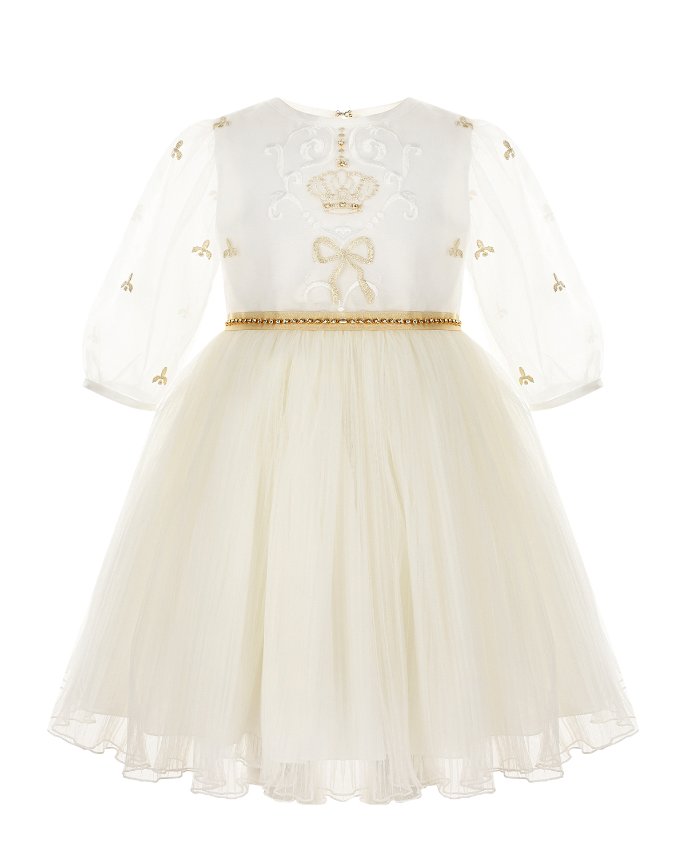 Купить Белое платье с вышивкой и стразами Lesy детское, Белый, 80%полиэстер+20%вискоза, 100%полиамид, 60%ацетат+40%вискоза, 100%хлопок, 100%нейлон