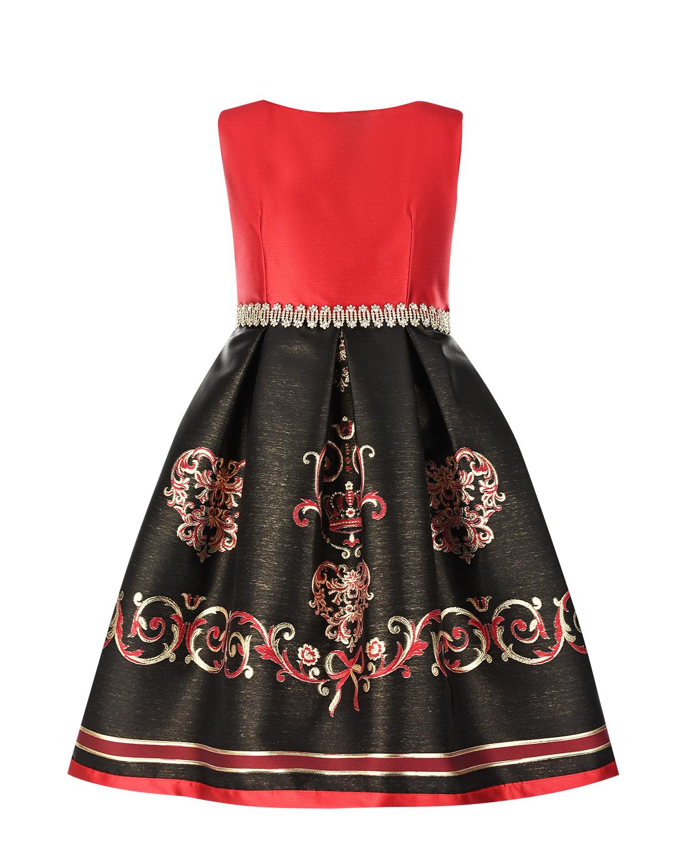 Красно-черное платье с декоративным поясом Lesy детское фото