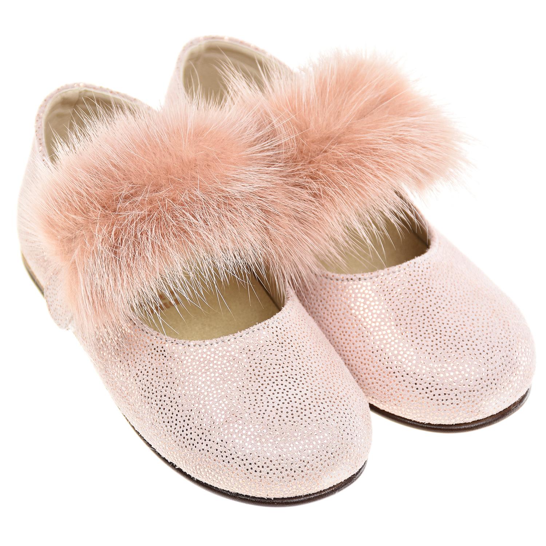 Купить Розовые туфли с отделкой из меха норки Baby Walker детские, Розовый, верх:100%натур.кожа отделка нат.мех, подкладка+стелька:80%натур.кожа+20%текстиль, подошва:100%натур.кожа