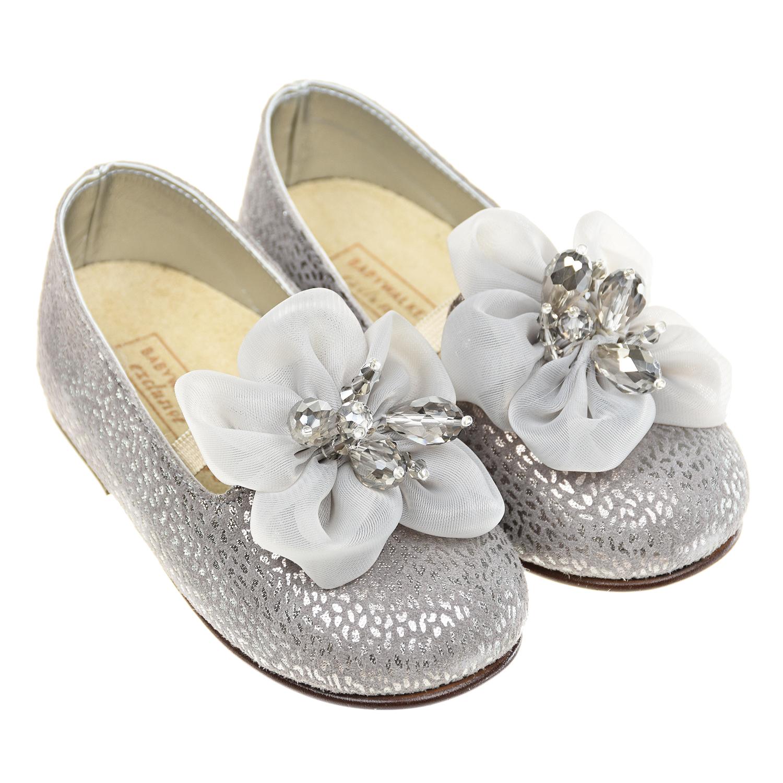 Купить Серебристые туфли с шелковым цветком Baby Walker детские, Серебряный, верх:100%натур.кожа, отделка текстиль, подкладка+стелька:80%натур.кожа+20%текстиль, подошва:100%натур.кожа