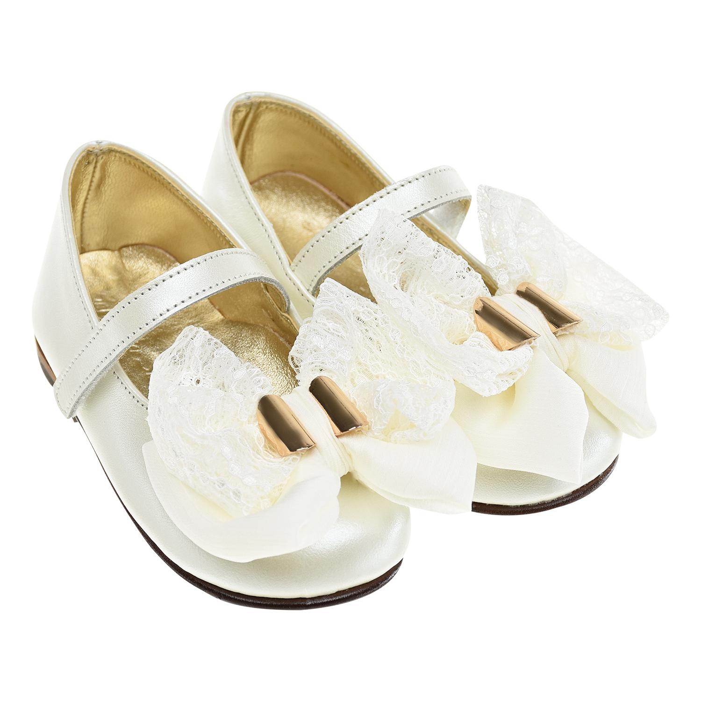 Купить Белые туфли с кружевным бантом Baby Walker детские, Белый, верх:100%натур.кожа, отделка текстиль, подкладка:100%натур.кожа, стелька:100%натур.кожа, подошва:100%натур.кожа