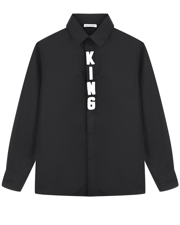 Черная рубашка с аппликацией KING Dolce&Gabbana детская фото