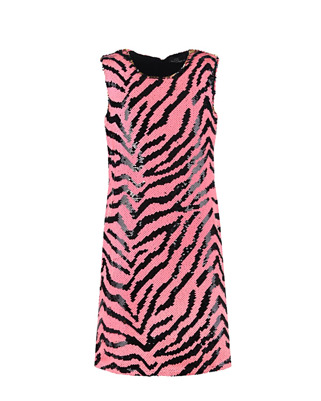 Купить Розовое платье в полоску из пайеток Dan Maralex детское, Белый, 100%полиэстер, 92%хлопок+8%эластан