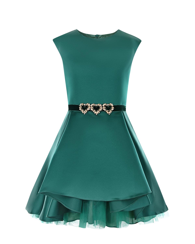Зеленое атласное платье с многослойной юбкой David Charles детское фото