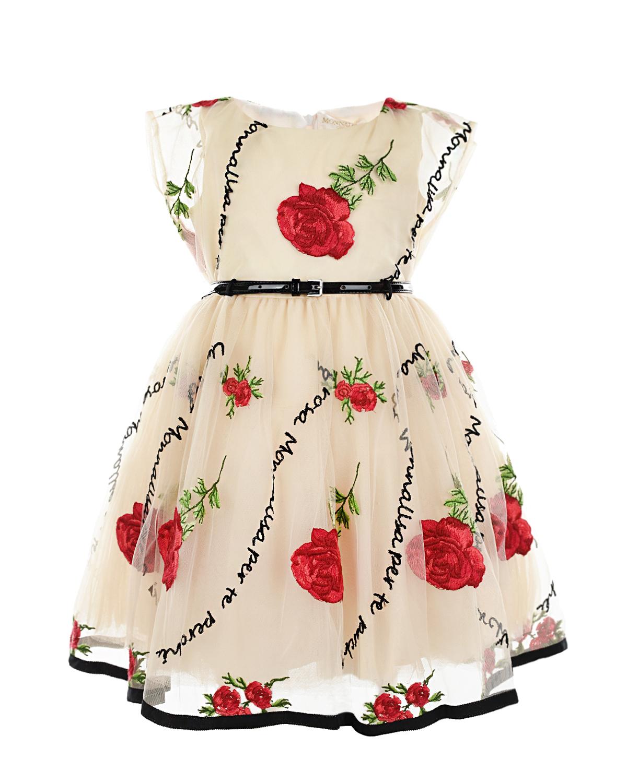 Купить Кремовое платье с вышивкой Monnalisa