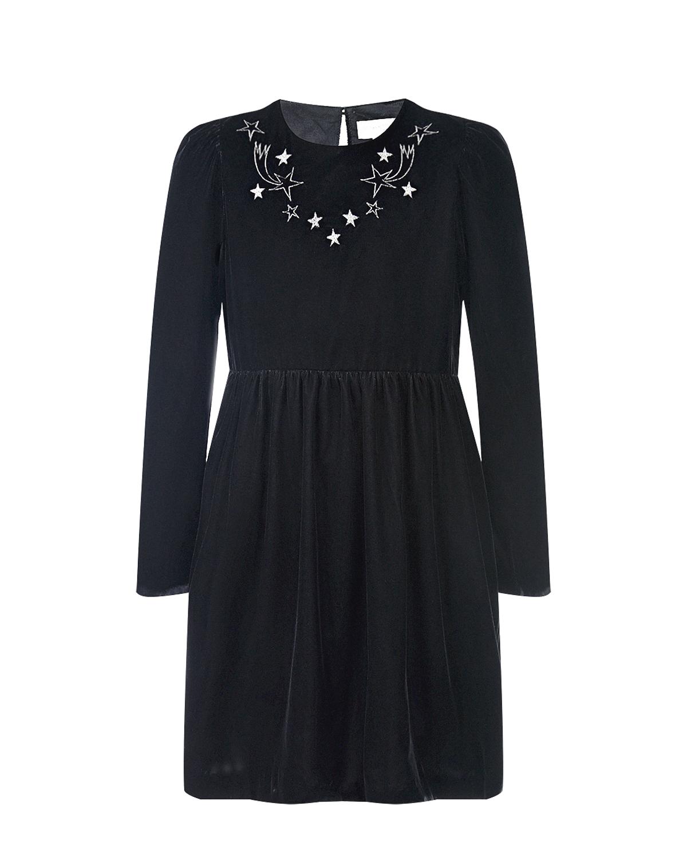 Купить Черное платье с серебристыми звездами Stella McCartney детское, Черный, 100%хлопок, 100%полиэстер