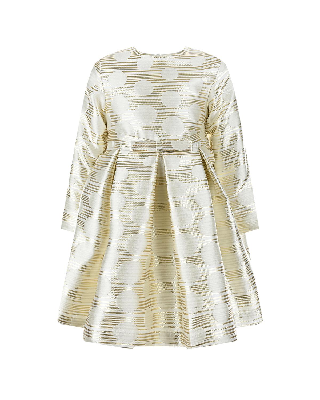 Купить Золотистое платье с бантом на поясе Aletta детское, Кремовый, 92%полиэстер+8%полиметалл, 100%хлопок