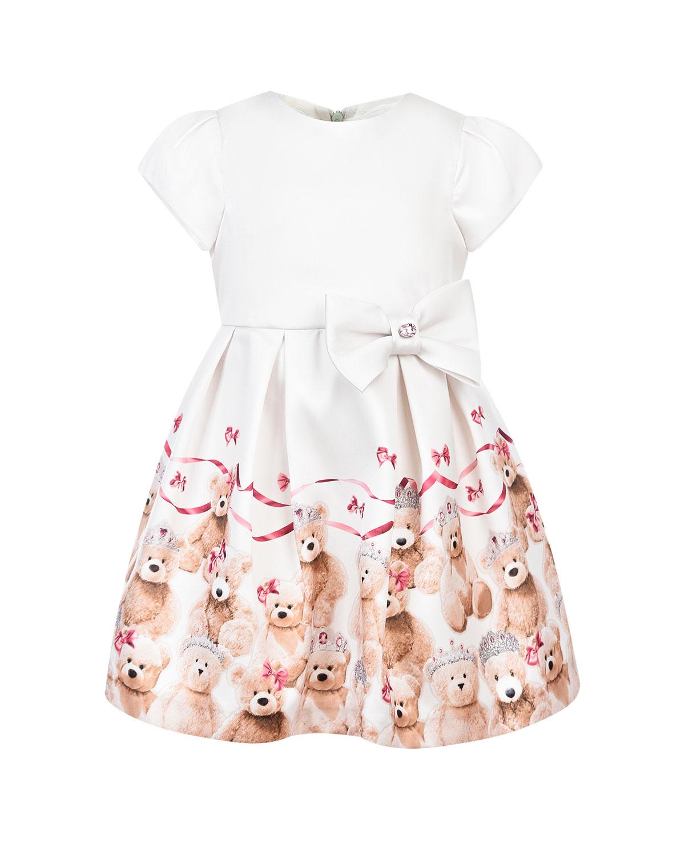 Купить Платье с бантом на поясе Baby A детское, Белый, 100%полиэстер, 100%полиамид, 60%модал+40%хлопок