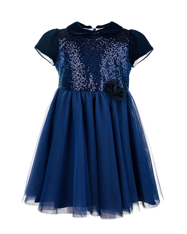 Купить Платье с отделкой пайетками Baby A детское, Синий, 100%полиэстер, 97%полиэстер+3%эластан, 100%полиамид. 92%полиэстер+8%эластан. 60%модал+40%хлопок