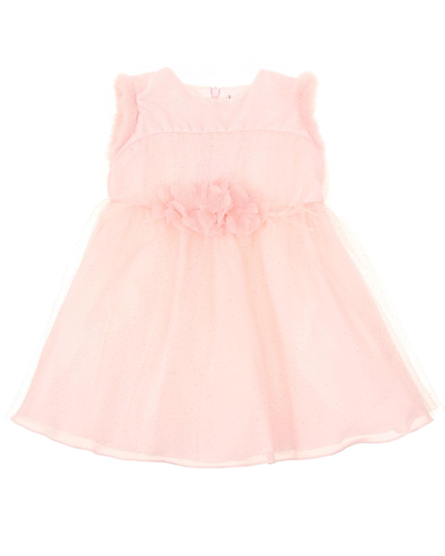 Купить Платье с меховой отделкой Baby A детское, Розовый, 60%модал+40%хлопок. 100%полиэстер, 100%полиамид. 100%хлопок, 60%модал+40%хлопок