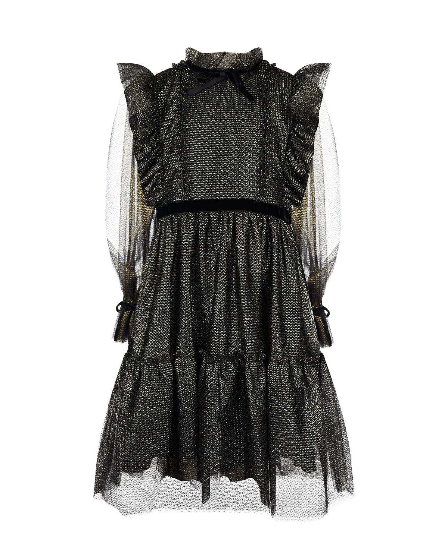 Купить Черно-золотое платье с оборками Alberta Ferretti