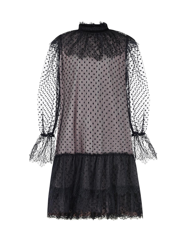 Платье с оборками и вышивкой плюметис Alberta Ferretti  - купить со скидкой