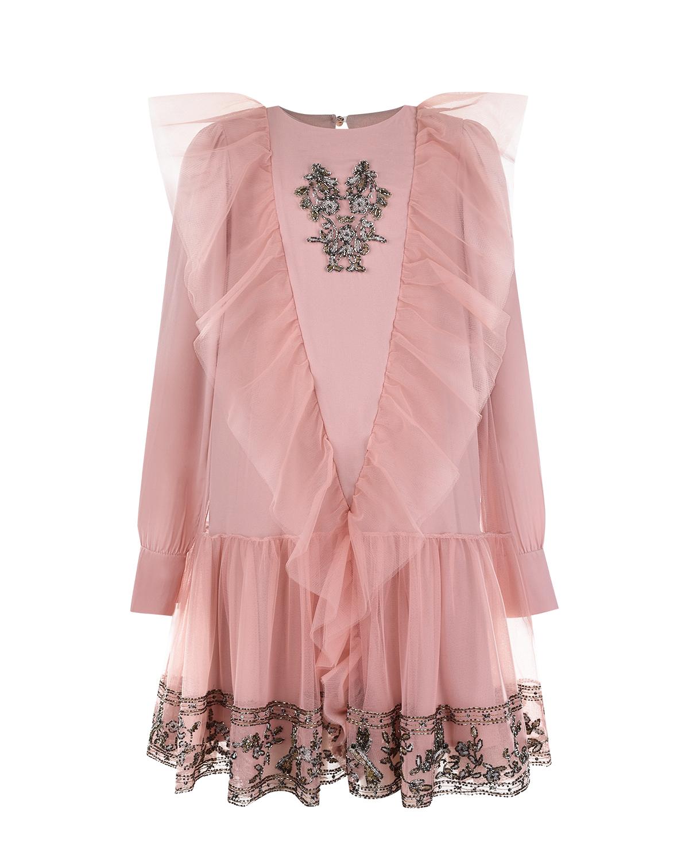 Купить Платье с оборками и вышивкой бисером Alberta Ferretti
