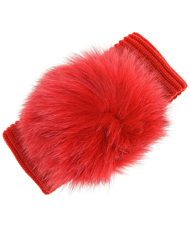 Красная повязка из шерсти с помпоном Aletta детская фото