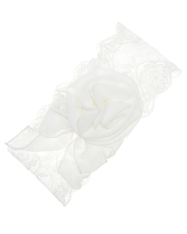Кружевная повязка с цветочной аппликацией Aletta детская фото