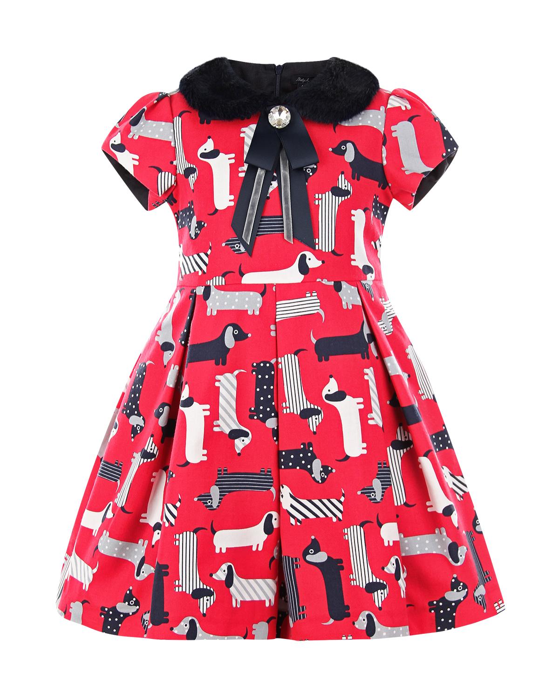 Купить Красное платье с принтом таксы Baby A детское, Красный, 50%хлопок+50%полиэстер, 100%полиэстер, 100%полиамид. 60%модал+40%хлопок
