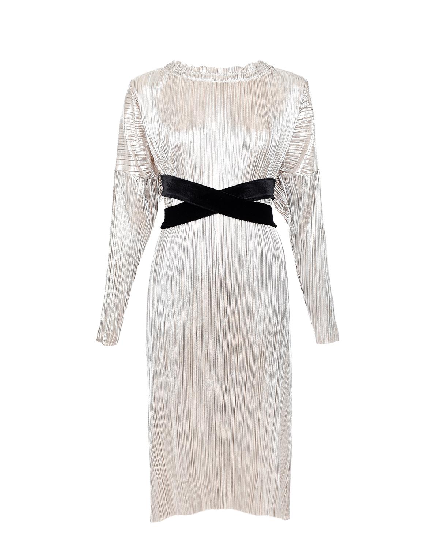 Плиссированное платье для беременных с бархатным поясом Dan Maralex Плиссированное платье для беременных с бархатным поясом Dan Mara цвет нет цвета