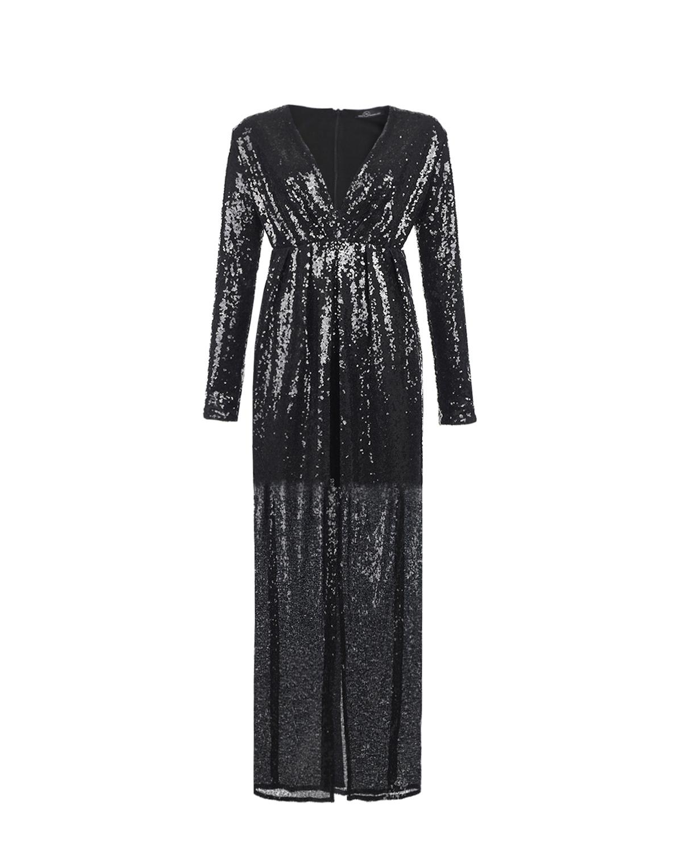 Купить Черное платье для беременных с вышивкой пайетками Dan Maralex, Нет цвета, 100%полиэстер, 92%хлопок+8%эластан