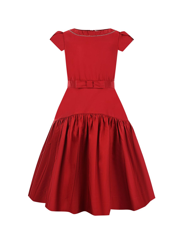 Красное приталенное платье с пышной юбкой Monnalisa детское фото