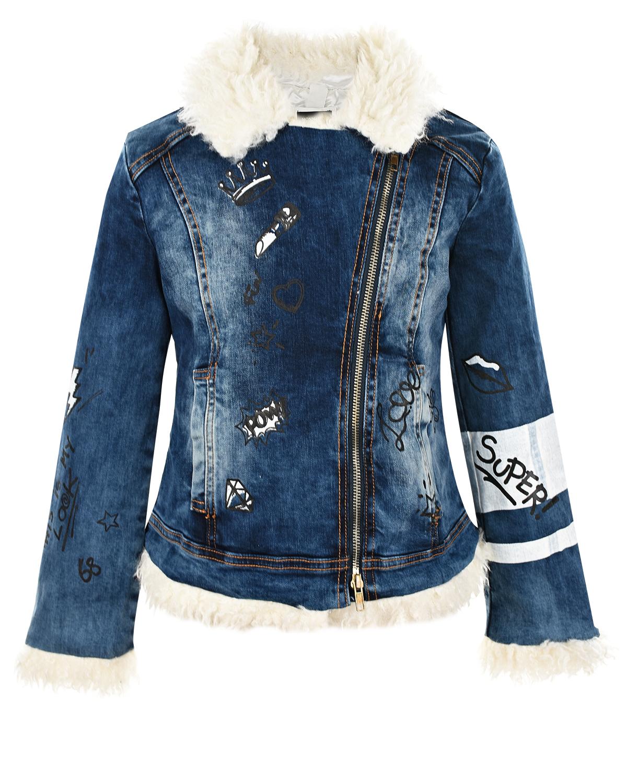 Купить Утепленная джинсовая куртка с отделкой из эко-меха Monnalisa детская, Синий, 99%хлопок+1%эластан, 100%полиэстер, 100%полиэстер. Искусственный мех: 100% полиэстер