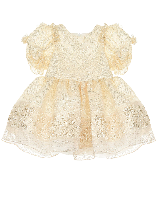 Купить Жаккардовое платье с цветочными аппликациями David Charles детское, Белый, 75%полиэстер+25%металлизированная нить, 100%хлопок