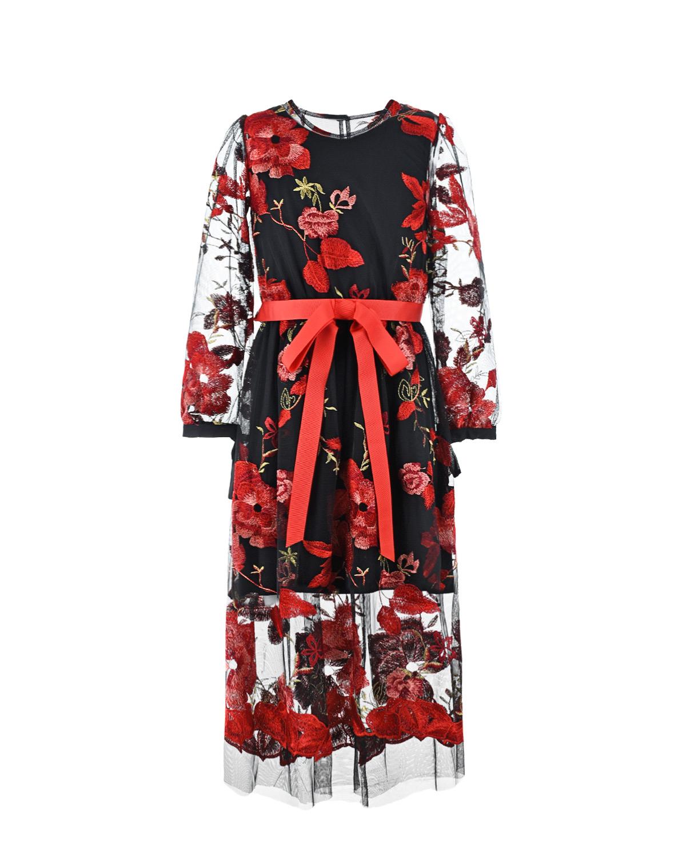 Купить Платье с вышитыми цветами Aletta детское, Мультиколор, 94%вискоза+6%эластан, 100%полиэстер