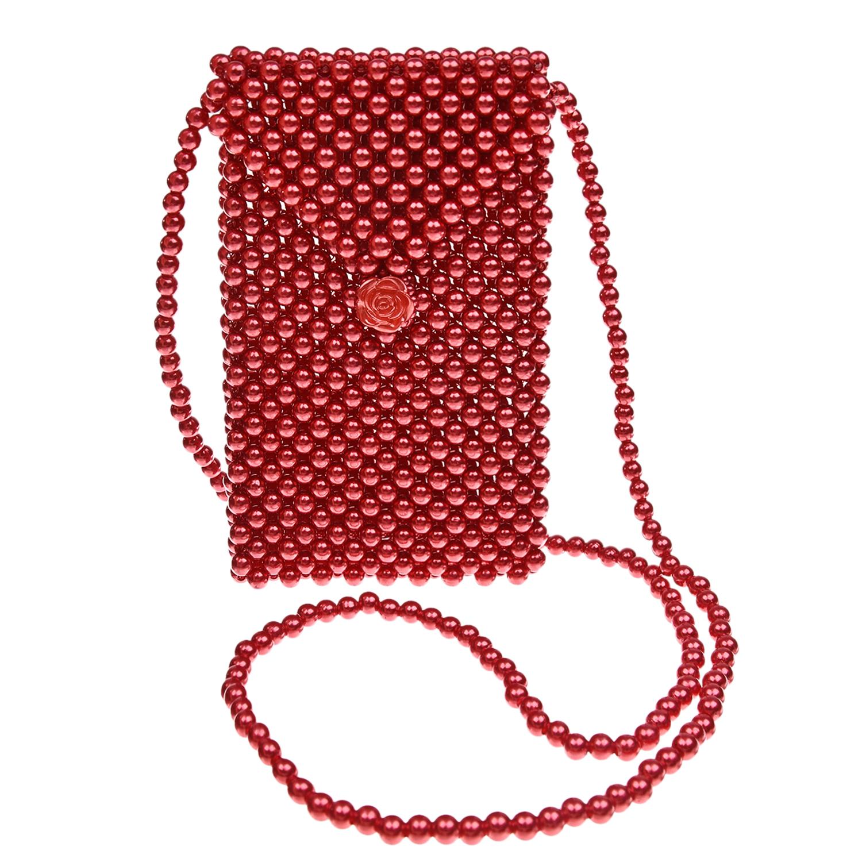 Купить Красная плетеная сумка из бусин 11х2х18 см David Charles детская, Красный, 100%акрил