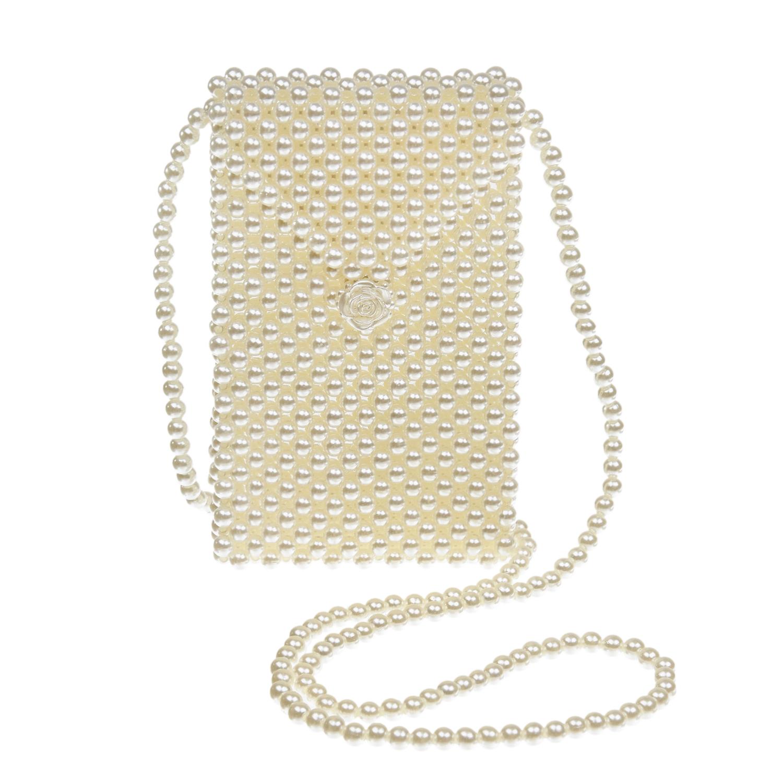 Купить Кремовая плетеная сумка из бусин 11х2х18 см David Charles детская, Белый, 100%акрил