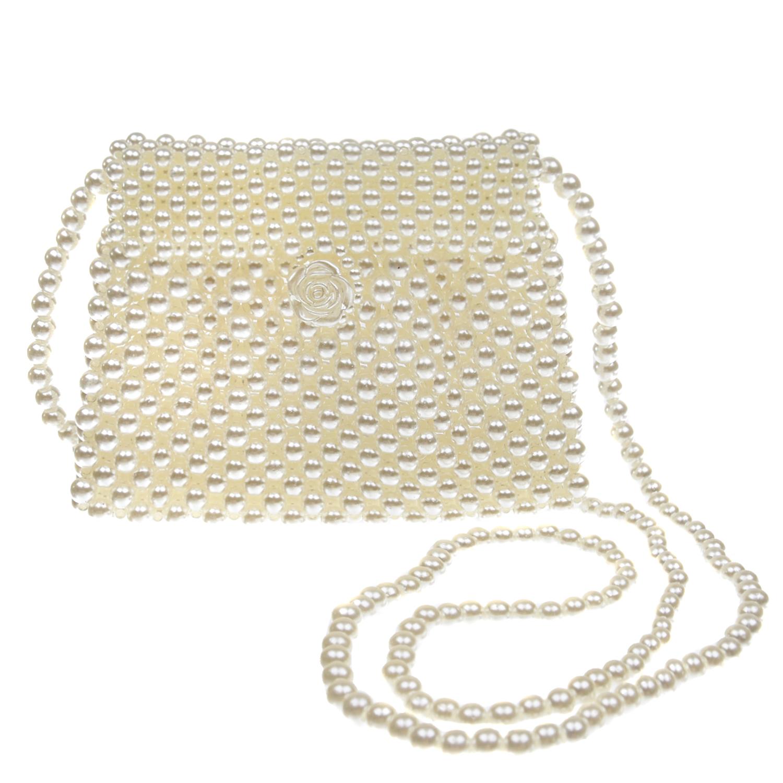 Купить Плетеная сумка с белыми бусинами 15х2х12 см David Charles детская, Белый, 100%акрил