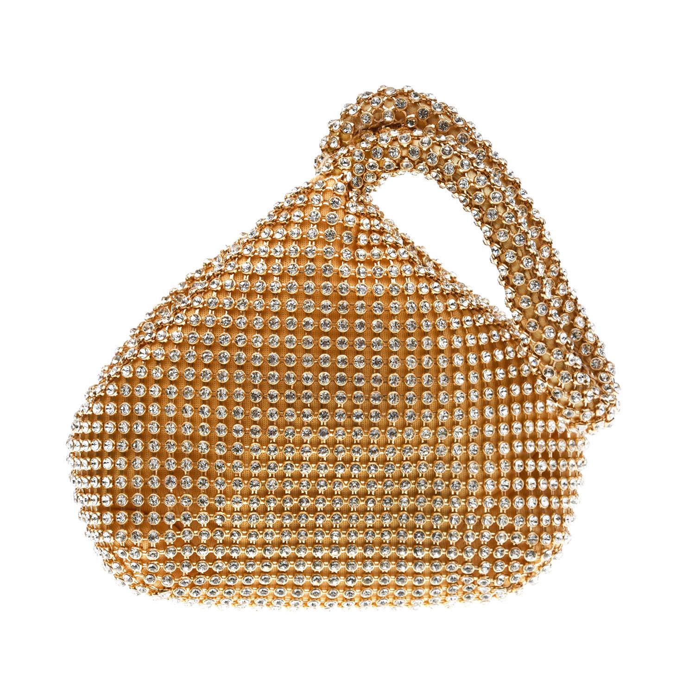 Купить Золотистая сумка со стразами 12х6х13 см David Charles детская, Золотой, 100%полиэстер, пенополиуретан, металл, стразы