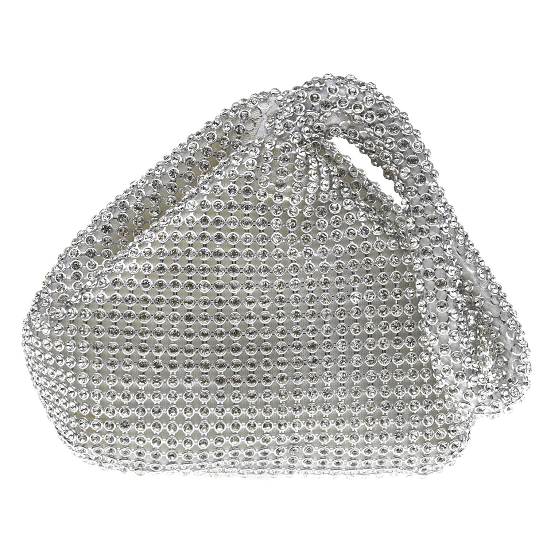 Купить Серебристая сумка со стразами 12х6х13 см David Charles детская, Нет цвета, 100%полиэстер, пенополиуретан, металл, стразы