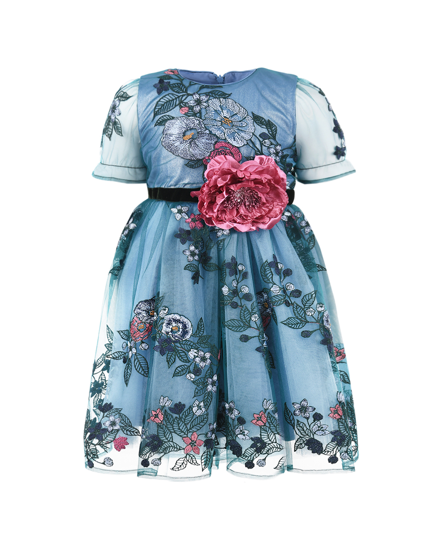 Купить Голубое платье с цветочной вышивкой Eirene детское, Голубой, 100% полиэстер.100% хлопок
