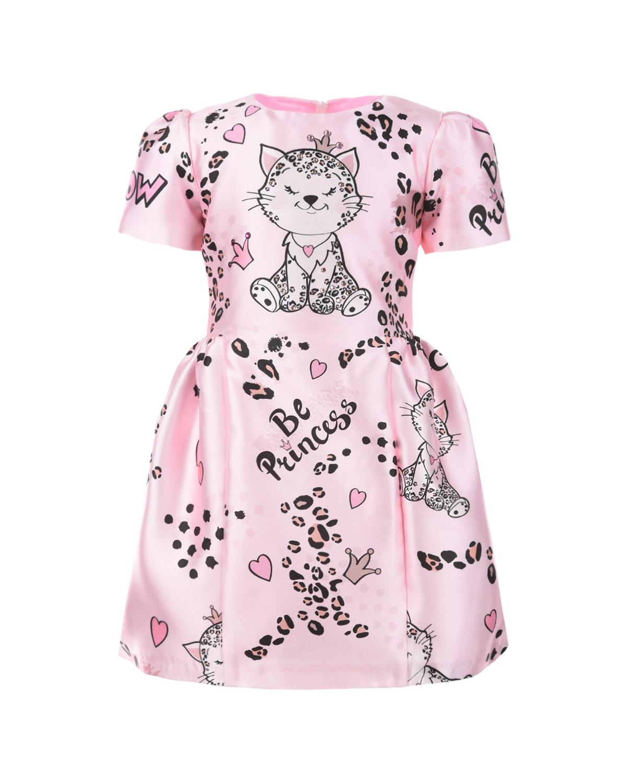 Купить Розовое платье с леопардовым принтом Eirene детское, Розовый, 100% полиэстер, 100% хлопок