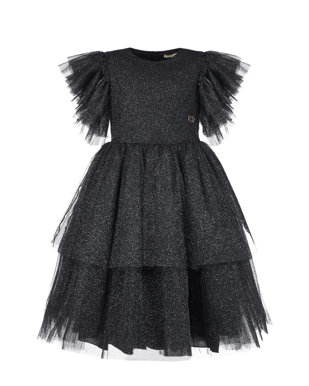 Купить Черное платье с рукавами крылышками Elie Saab детское, Черный, 100%полиэстер, 100%хлопок, 100%полиамид