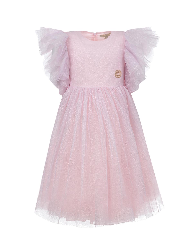 Купить Розовое платье с рукавами крылышками Elie Saab детское, Розовый, 100%полиэстер, 100%хлопок, 100%полиамид