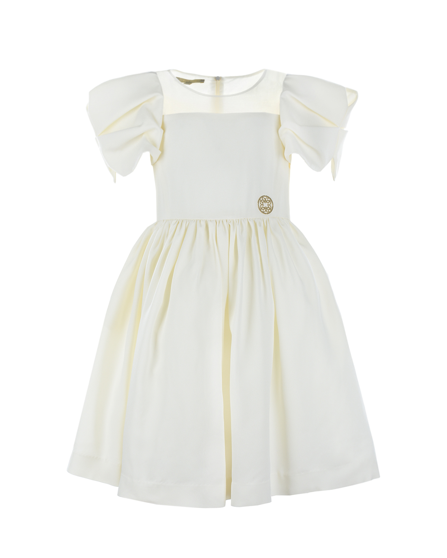 Купить Нарядное платье с рукавами-крылышками Elie Saab детское, Кремовый, 80%ацетат+20%вискоза, 100%шелк, 100%полиамид, 100%хлопок