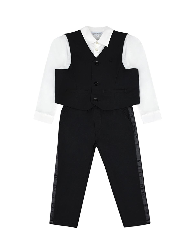 Купить Классический комплект: рубашка, брюки и жилет Emporio Armani детский, Черный, 96%шерсть+4%эластан, 100%полиэстер, 64%вискоза+36%полиэстер, 75%хлопок+22%полиамид+3%эластан