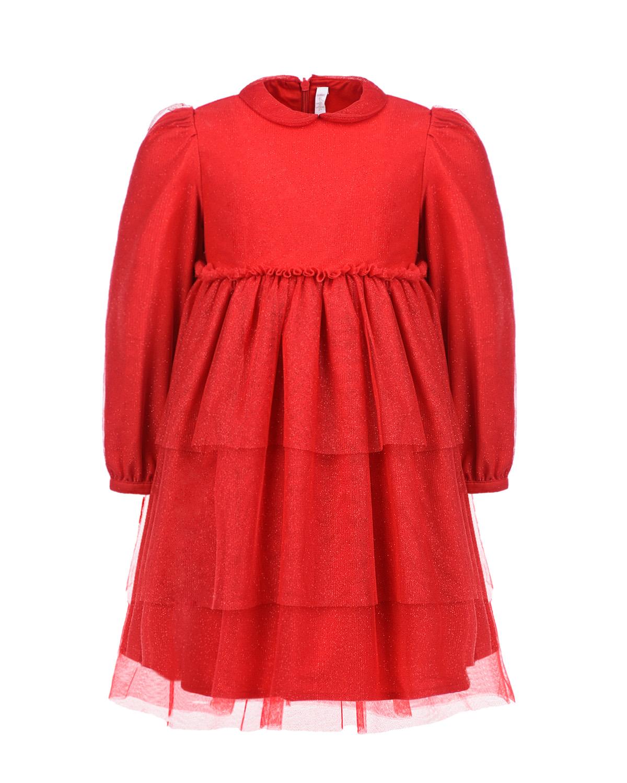 Купить Нарядное красное платье с глиттером IL Gufo детское, Красный, 100%полиэстер, 55%вискоза+45%хлопок, 100%хлопок, 100%полиамид