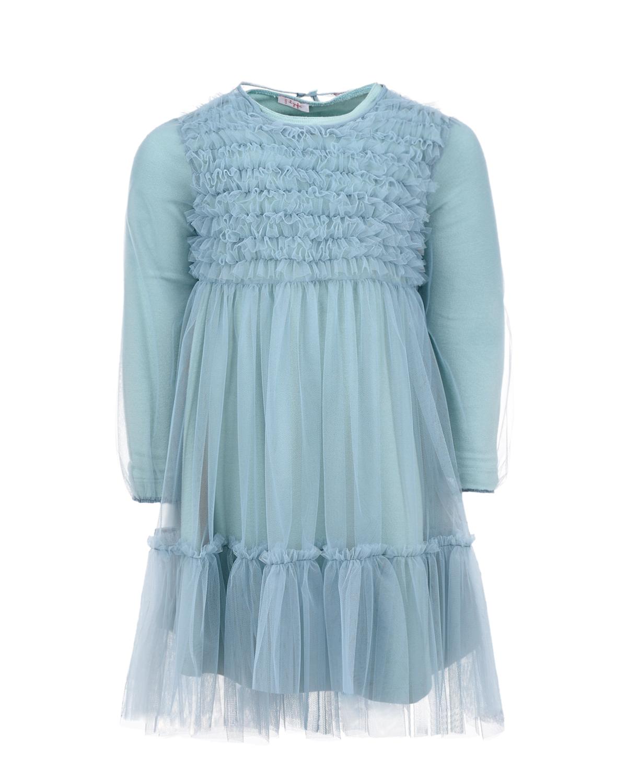 Купить Нарядное платье голубого цвета IL Gufo детское, Серый, 100%полиамид, 94%хлопок+6%эластан