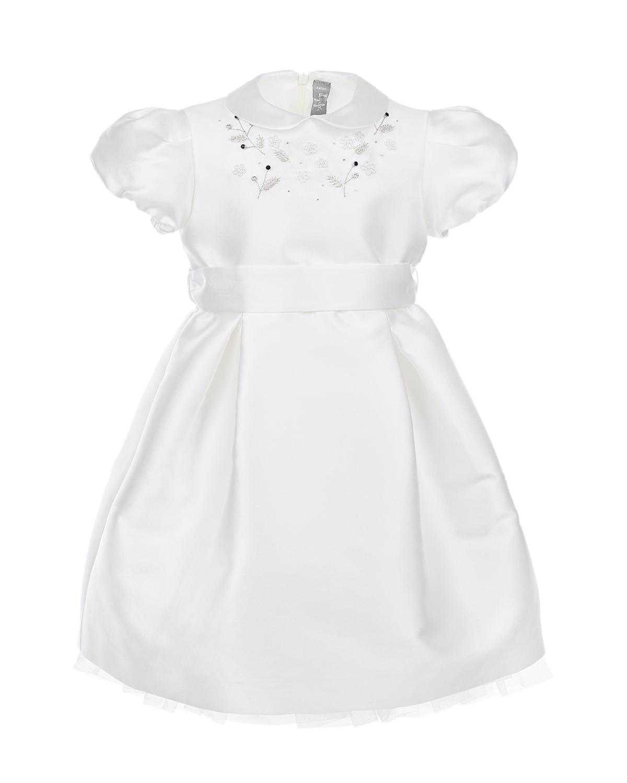 Купить Белое атласное платье с вышивкой IL Gufo, Белый, 85%полиэстер+15%шелк, 58%ацетат+42%вискоза, 100%полиамид, 100%хлопок