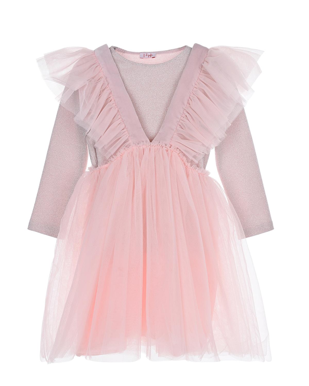 Купить Нежно-розовое платье с юбкой из тюля IL Gufo детское, Розовый, 100%полиамид, 100%хлопок, 100%полиэстер