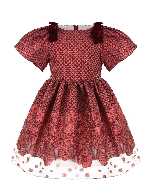 Купить Красное платье с бархатными бантами David Charles детское, Красный, 79%полиэстер+21%металл.нить, 100%хлопок