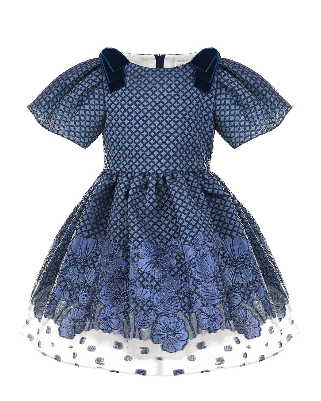 Купить Синее платье с бархатными бантами David Charles детское, Синий, 79%полиэстер+21%металл.нить, 100%хлопок