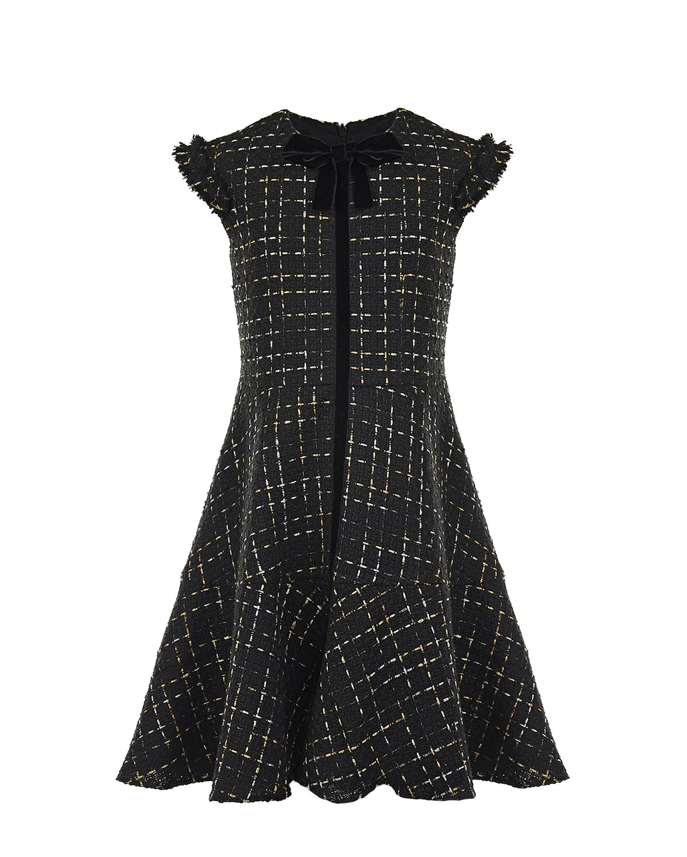 Купить Платье с черным бархатным бантом David Charles детское, Черный, 100%хлопок, 100%полиэстер