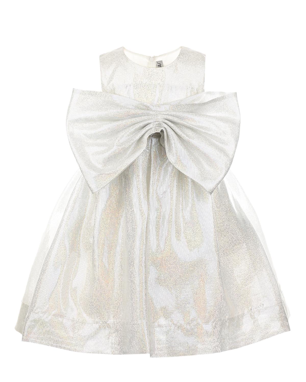 Купить Белое платье с пышным бантом Simonetta детское, Нет цвета, 62%шелк+38%полиэстер, 100%купро, 100%полиамид