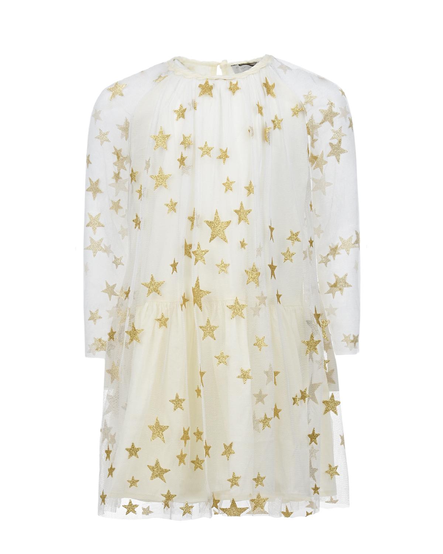 Купить Белое платье с золотыми звездами Stella McCartney детское, Белый, 100%полиэстер, 100%хлопок